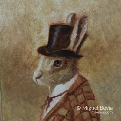 Rabbit in Clothes Original Oil Painting
